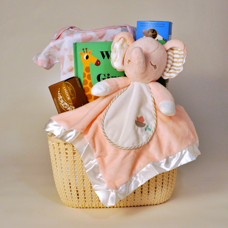 This delightful gift features the Pink Elephant Snuggler (which is oh-so-soft!) by Douglas Baby Cuddle Toys along with a Board book and onesie for the new arrival, and some yummy treats for Mom & Dad!