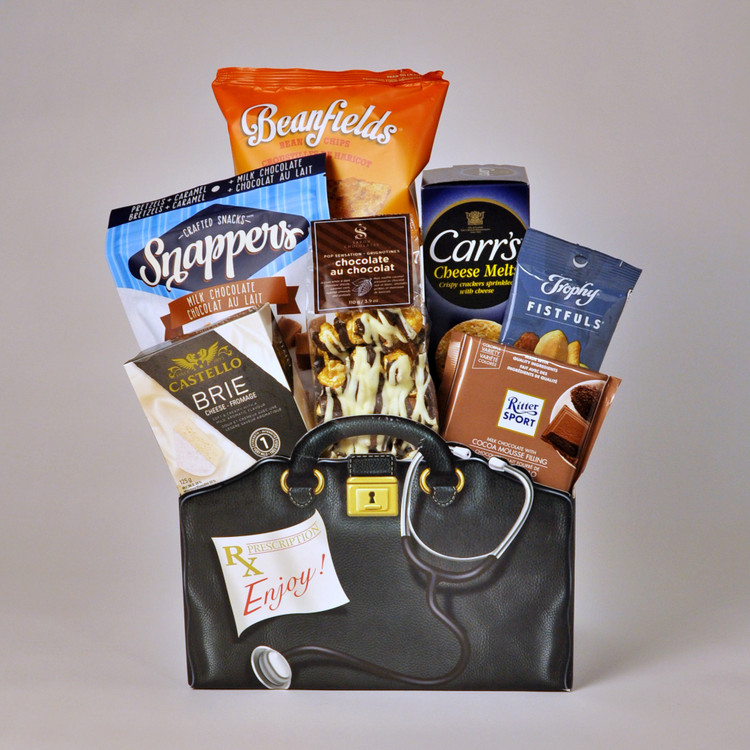 """The perfect way to say """"Thank You"""" to a health care professional in your life! This box, that looks like a doctor's bag, is full of yummy treats and delectable goodies! It includes crackers, cheese, chocolate, nuts, chips, and more!"""
