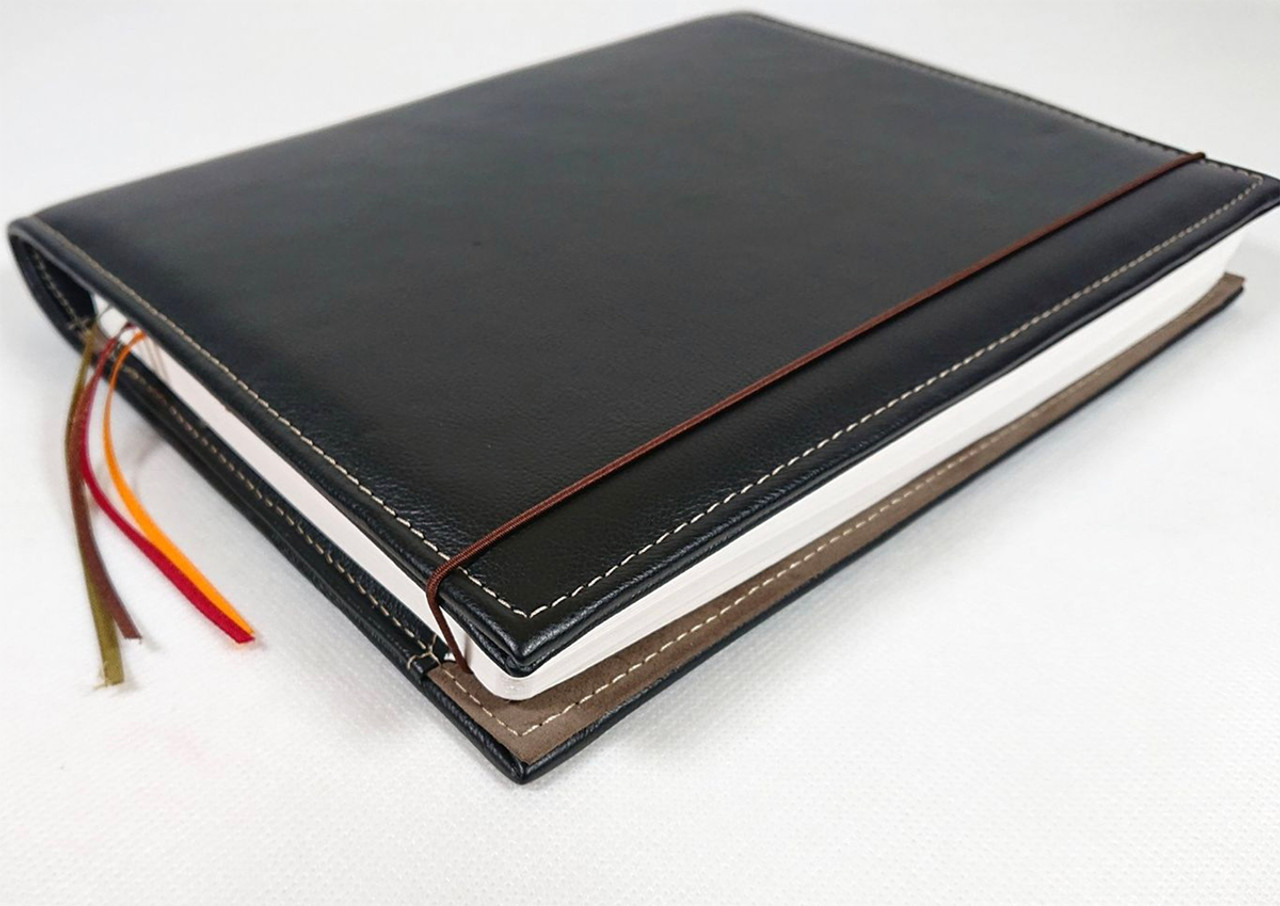Archie's notebook and leather cover, black