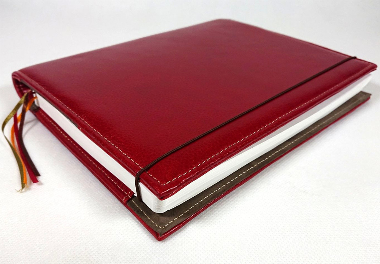 Archie's notebook and leather cover, red