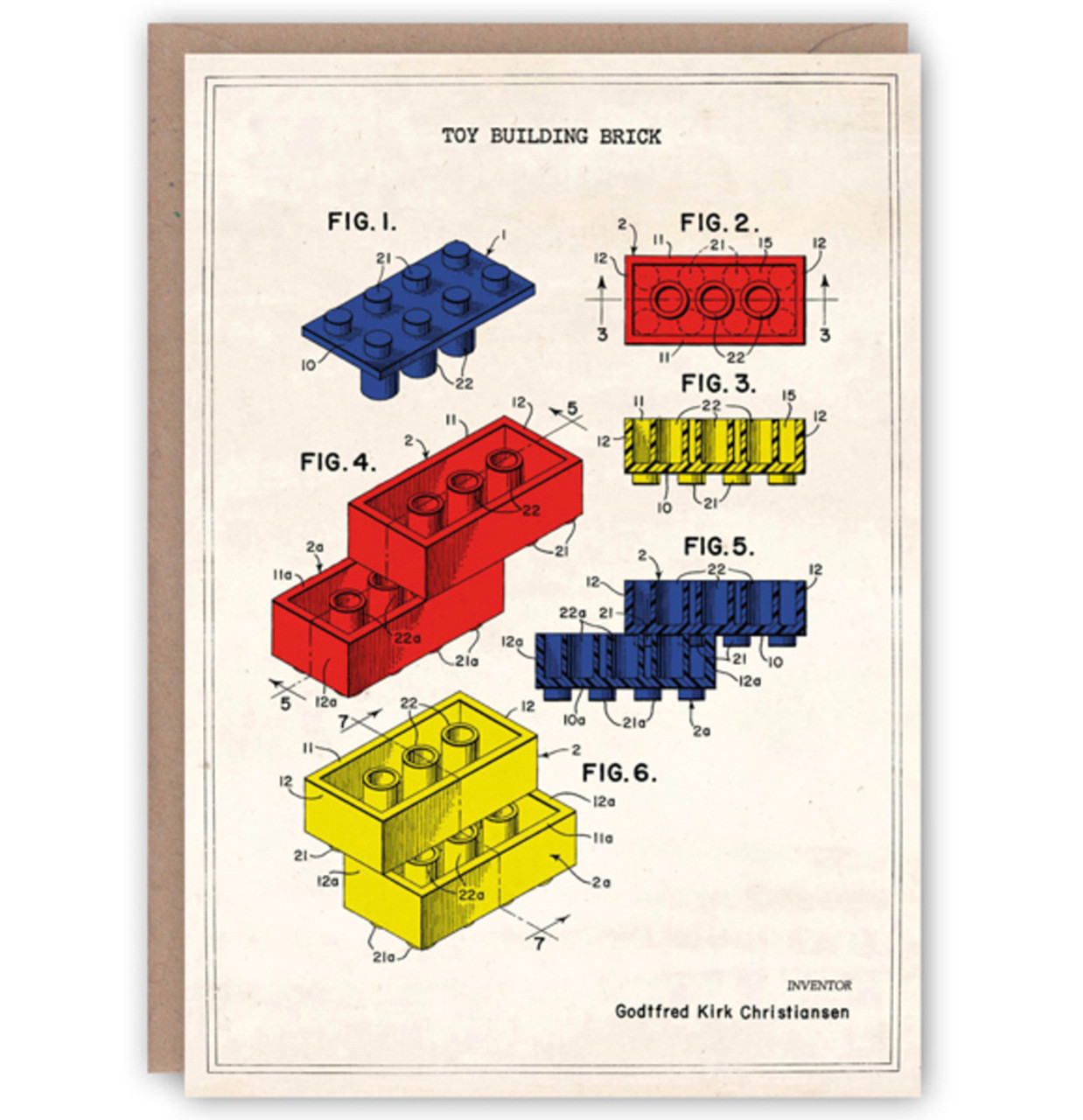 The Pattern Book greetings card - Lego patent