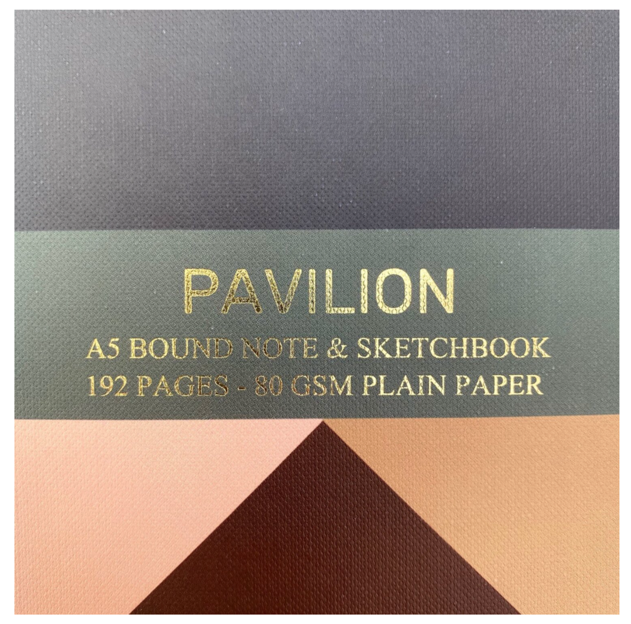 Pavilion A5 buckram embossed notebook, embossing