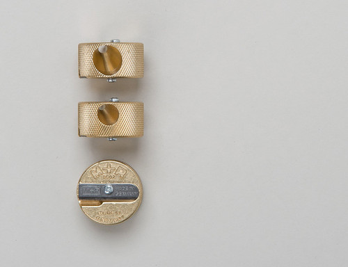 Trio of Mobius + Ruppert Discos brass pencil sharpener