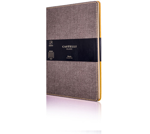Castelli Harris pocket notebook, tobacco blue