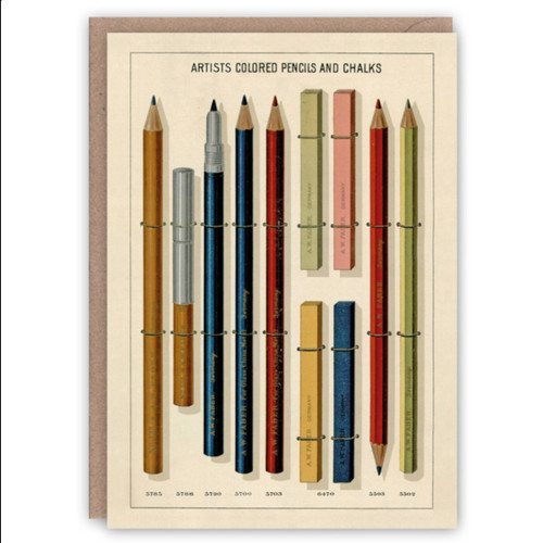 The Pattern Book greetings card - vintage pencils
