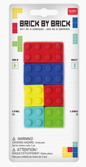 Legami Brick by Brick erasers, set of 6