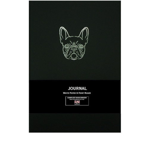 Charfleet Book Bindery french bulldog journal, black