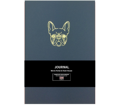 Charfleet Book Bindery french bulldog journal, blue