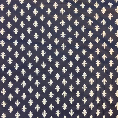 White Fleur De Lis  and Navy fabric.