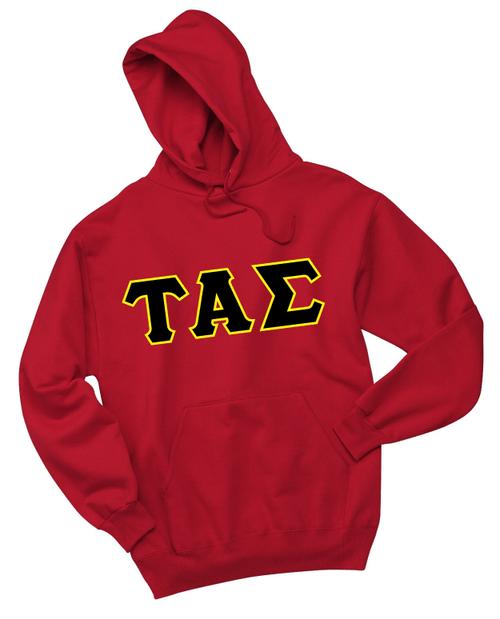 Twill Greek lettered hooded sweatshirt. Black twill on Light Gold twill.