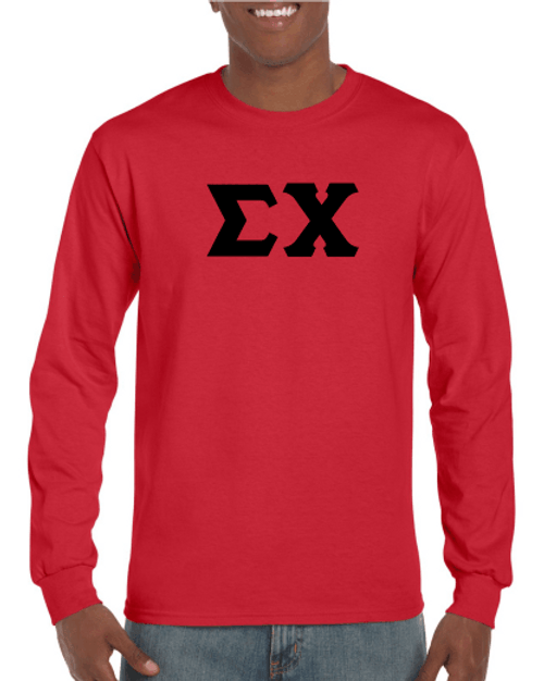 Sigma Chi One Color Greek Letter Long Sleeve T-Shirt