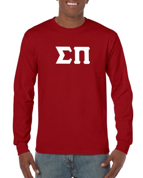 Greek Letter Long Sleeve T-Shirt in Maroon