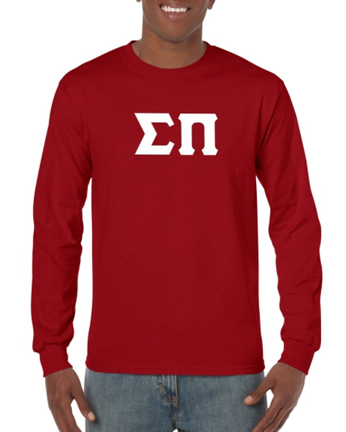 Greek Letter Long Sleeve T-Shirt in Maroon