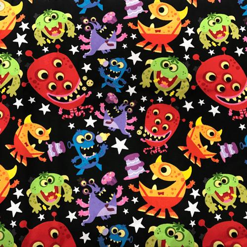 Little Alien Monsters Greek Letter Fabric