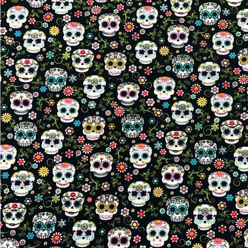 Floral Sugar Skull Fabric