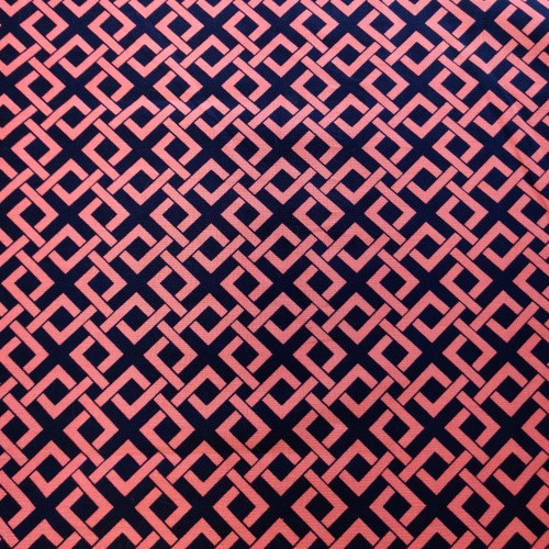 Pink and Navy Geometric Weaving Greek Letter Apparel