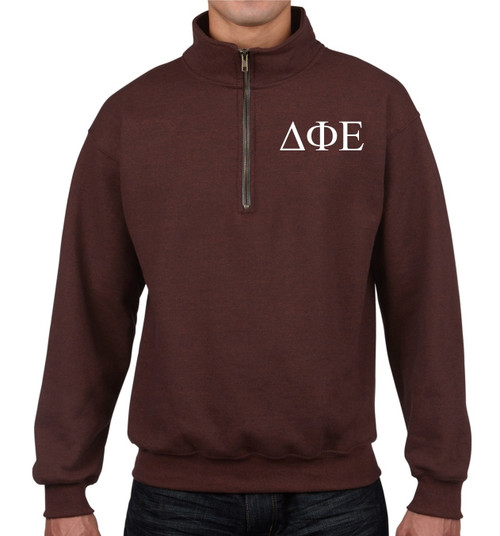 Delta Phi Epsilon Embroidered Maroon Quarter Zip Sweatshirt