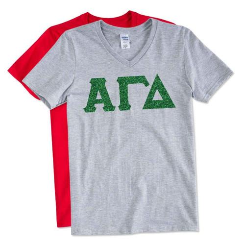 Glitter V-Neck Greek Letter T-Shirt