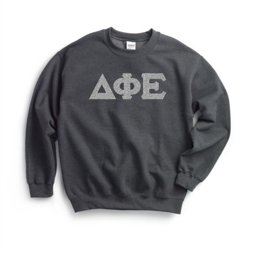 Glitter Greek Lettered Crewneck Sweatshirt