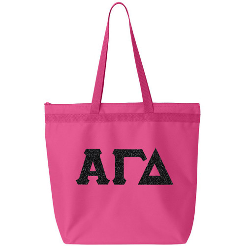 Glitter Greek Letter Tote Bag