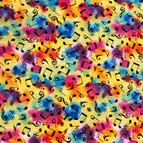 Music Notes on Rainbow Tie Dye Greek Letter Apparel fabric.