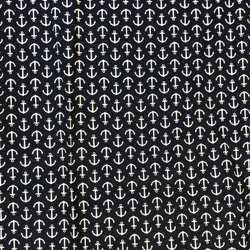 White Anchors on Navy Greek Letter Apparel fabric.