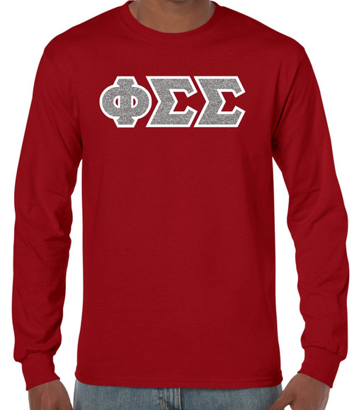 Glitter & Twill Greek Lettered Long Sleeve T-Shirt