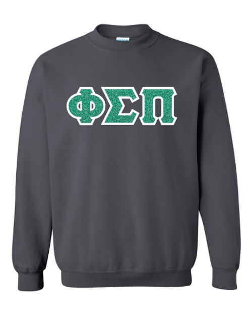 Charcoal Grey sweatshirt with Jade Glitter on White Twill.