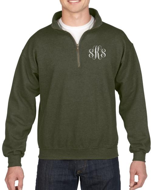 Script Monogrammed Quarter Zip Sweatshirt