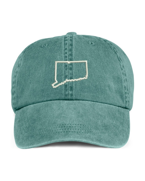 Connecticut State Map Outline Embroidered Hat