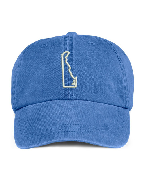 Delaware State Map Outline Embroidered Hat