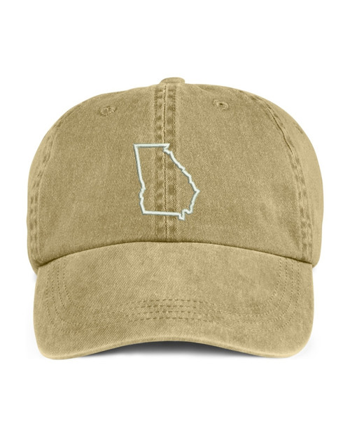 Georgia State Map Outline Embroidered Hat