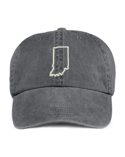 Indiana State Map Outline Embroidered Hat
