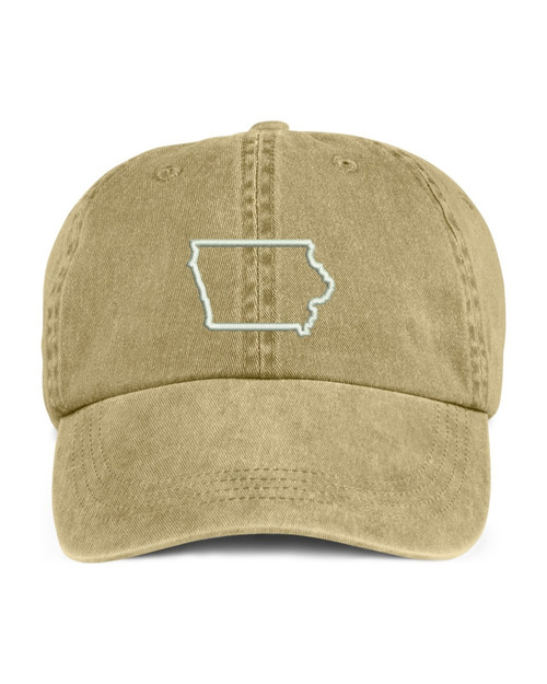 Iowa State Map Outline Embroidered Hat