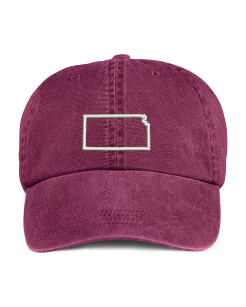 Kansas State Map Outline Embroidered Hat