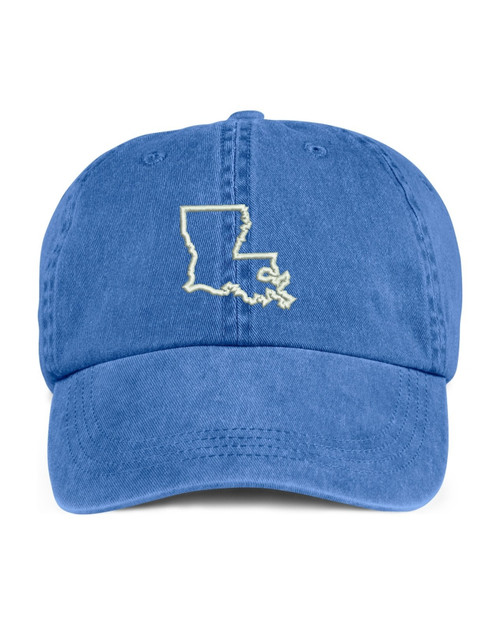 Louisiana State Map Outline Embroidered Hat