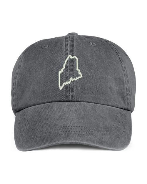 Maine State Map Outline Embroidered Hat