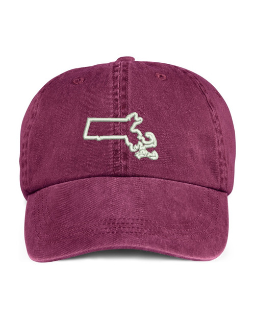 Massachusetts State Map Outline Embroidered Hat