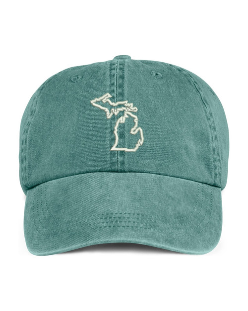 Michigan State Map Outline Embroidered Hat