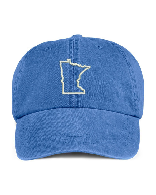 Minnesota State Map Outline Embroidered Hat