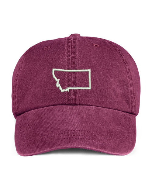 Montana State Map Outline Embroidered Hat