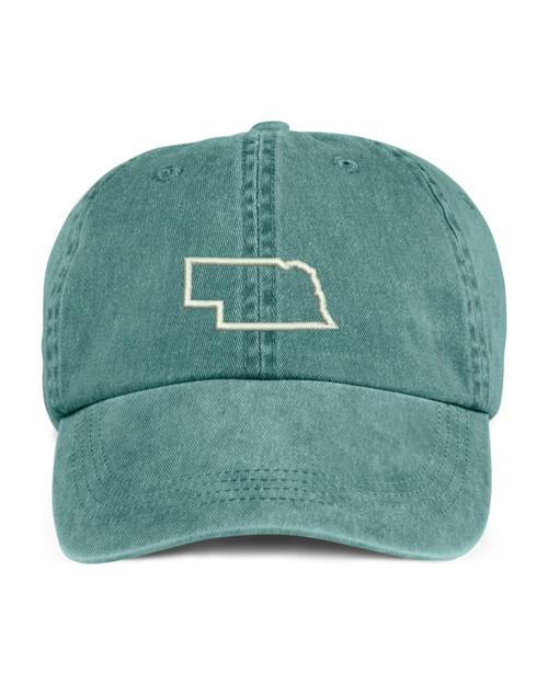 Nebraska State Map Outline Embroidered Hat