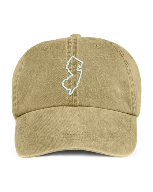 New Jersey State Map Outline Embroidered Hat