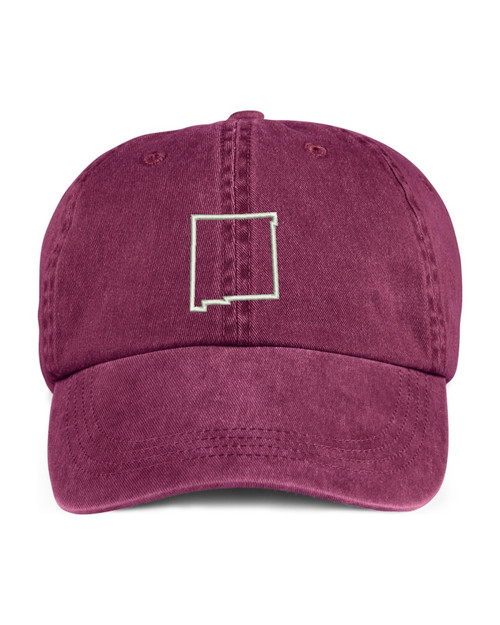 New Mexico State Map Outline Embroidered Hat