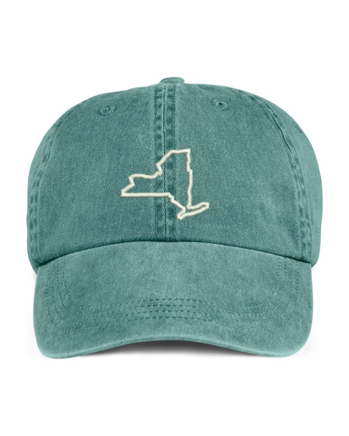 New York State Map Outline Embroidered Hat