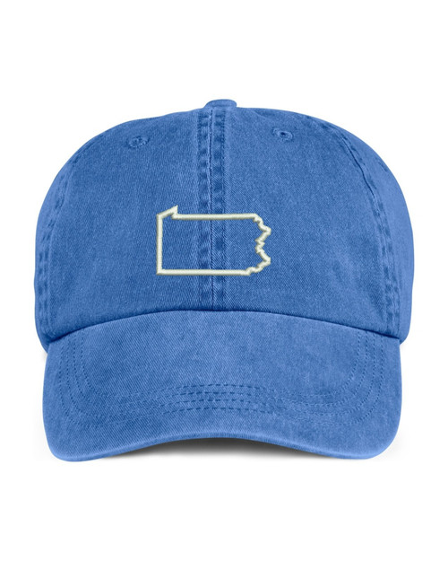 Pennsylvania State Map Outline Embroidered Hat