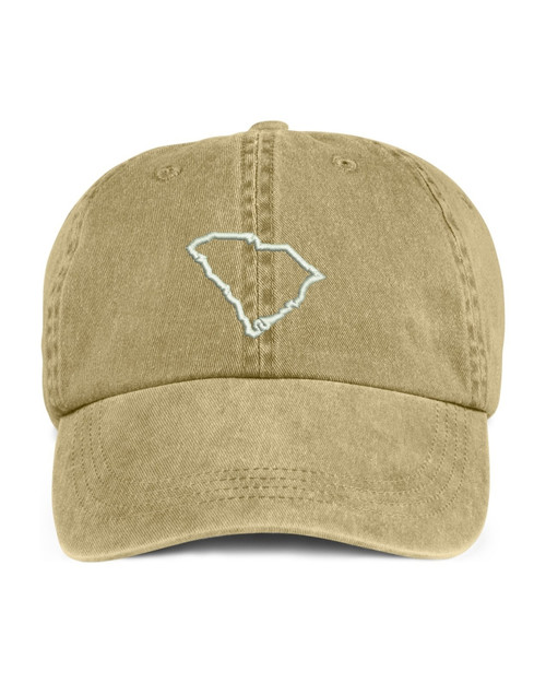 South Carolina State Map Outline Embroidered Hat