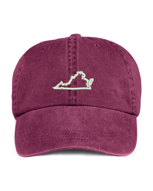 Virginia State Map Outline Embroidered Hat