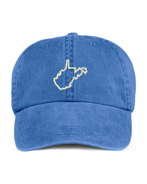 West Virginia State Map Outline Embroidered Hat