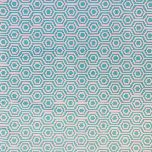 seafoam green colored geometric greek letter pattern fabric